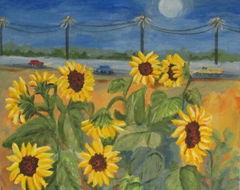 Sunflowers Along the Highway -  Original Painting -  20 x 20 inches - by Kate Ladd