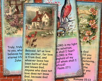 Bible Verse Bookmarks/Tags - 8 Inspirational Verses with Lovely Vintage Art -Printable Collage Sheet Jpg Digital File- New Lower Price