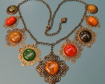 Rare unique ONE-OF-A-KIND necklace with 9 multicolor pendants of genuin tested vintage 1940s bakelite/ brontze filigree metal settings/chain