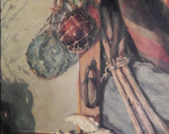 Reed . signed . Nautical Oil Painting . Lobster / Crab Claw . Hanging Buoys