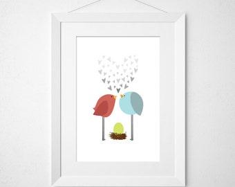 birdie love  - nursery art print