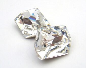 2 pcs vintage Swarovski crystal stones, silver foil back 16mm