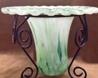 Fused glass drop vase