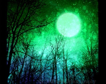 CLEARANCE Blue and Green Night Sky Photo, Surreal Landscape, Abstract Art, Trees, Moon, 5x5 inch Fine Art Print - The Other Place