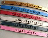 Custom Listing for KU - Personalized Leather Bracelets / Name Bands