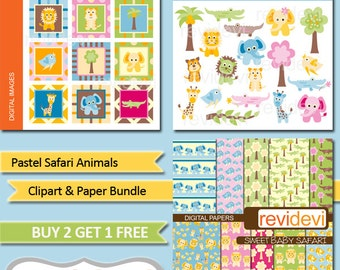 Animals clipart sale bundle, digital papers, clip art commercial use / wild animals, lion, giraffe, elephant, alligator / pastel colors