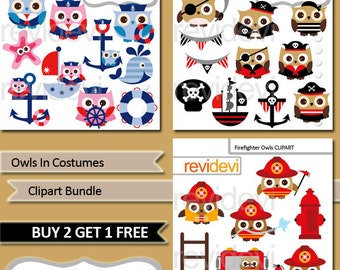 Owl clipart bundle / Owls in costumes commercial use clip art / nautical sailor, pirate, firefighter / owl digital images / instant download