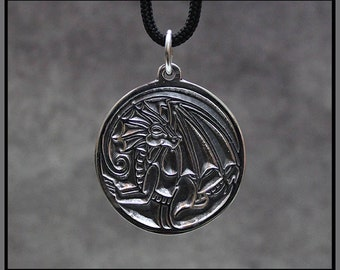 Luck Dragon Medallion in Sterling Silver