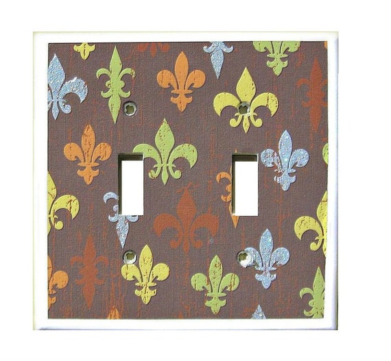 Glitter Fleur de Lis Double Light Switch Plate Decorative Pairs Themewith Bling Switchplate Cover Brown Blue, Yellow GreenRoom Decor