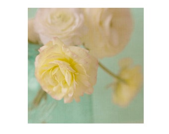 Yellow Ranunculus Photograph, Flower Still Life, Mint Floral Wall Decor, Pastel Bedroom Decor, Cottage Chic