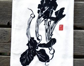 KV7: Japanese Turnips Flour Sack Dish Towel, Hand-Screenprinted