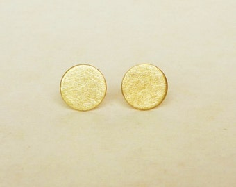8 mm Large Brushed Gold Round Dot Stud Earrings 925 Sterling Silver Posts,Bridesmaid Gift,Minimal Jewelry,Everyday Jewelry,Geometric,Simply