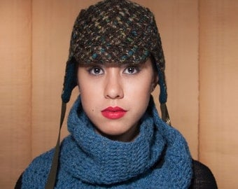 Aviator Hat, Winter Hat, Brown, Blue, and Green, Winter Cycling, Ear Flap Hat, Womens Hat, Packable Hat, Soft Woven, Warm and Wooly, Cute