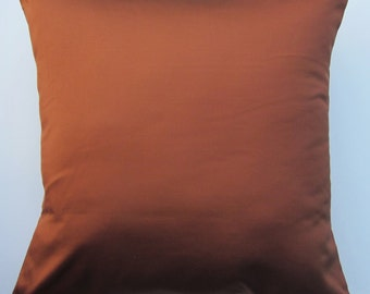 Rust Pillow Cover -- Silk Copper Brown Cushion Cover -- 18 x 18