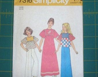 Simplicity 7316 Girls Shirt Dress 12 / 14
