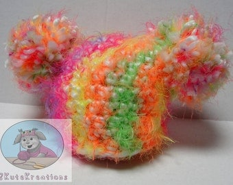 Big pompom hat, crochet baby hat, chunky fuzzy yarn, photography prop, baby girl hat, Colorful pompom hat, pink yellow, orange and green hat