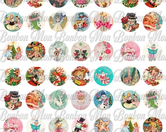 Vintage Retro Christmas One inch Circles for Tags,Cupcake Toppers, Party Supplies, Scrapbooking - DIY Printables - INSTANT DOWNLOAD