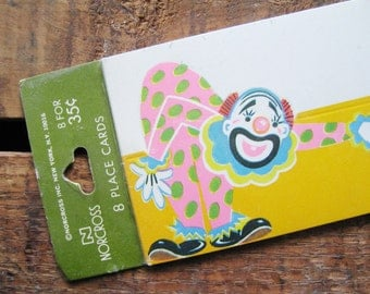 Vintage Birthday Clown Die Cut Party Place Cards - Set of 8