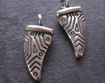 Tribal Horn Tip Charms - Solid Sterling Silver - oxidized and polished - 13mm X 7mm