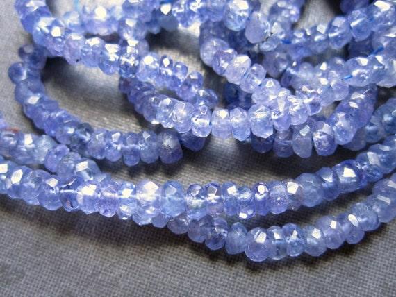Faceted Tanzanite Rondelles - semiprecious gemstones - 20 beads