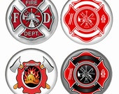 FireMan Icon Maltese Cross Magnets or Pinback Buttons or Flatback Medallions Set of 4