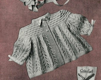 Vintage Baby's Matinee Coat and Bonnet, Knitting Pattern, 1950 (PDF) Pattern, Golden Eagle 917