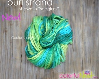"""Colorful Nest Purl Strand in """"seaglass"""" lumpy bumpy thick and thin handspun yarn for  Welcoming Home Baby the Handcrafted Way ON SALE"""