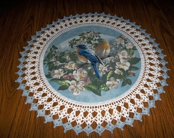 Crocheted Doily Blue Birds in Apple Blossoms Fabric Center Crocheted Edge 20 Inches Lace Doily Handmade Centerpiece Table Topper Gift