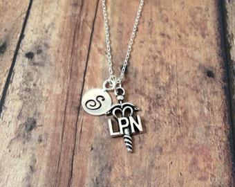 Licensed practical nurse LPN initial necklace - nurse jewelry, nurse gift, LPN jewelry, nursing student gift, medical jewelry, lpn pendant