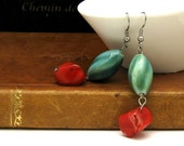 Red and Green Boho Dangle Earrings Natural Red Coral Green Porcelain Under 40
