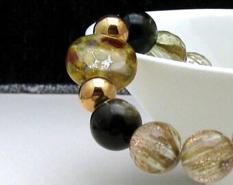 Gold In Quartz Luxe Modern Beaded Bracelet, Metallic Lampwork Rose Gold Bracelet, Boutique Wearable Art, For Her Under 325