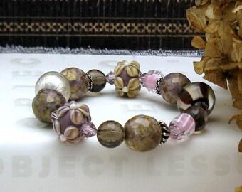 Plum Floral Lampwork Boho Beaded Bracelet, Smoky Quartz Chunky Bracelet, For Her Under 250