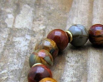 Red Creek Jasper Luxe Beaded Bracelet, Jasper Stretch Bracelet with Sterling Silver, Unisex Under 200