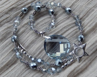 Morning Fog necklace with Swarovski Crystal Blue Shade pendant and rounds