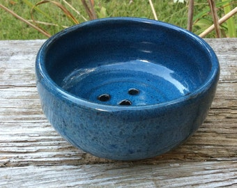 personal sized blue berry bowl, pottery, ceramic, colander, handmade and ready to ship BB4