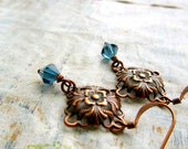 small Montana Blue earrings Art Nouveau copper jewelry