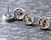 Compass Earrings, Tiny Mini Compass, Steampunk Jewelry, Compass Stud Earrings, Industrial Gadget Geekery, Surgical Steel Studs