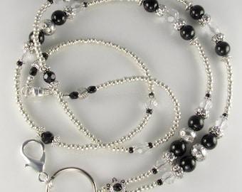 Black Pearl Beaded Lanyard ANTIQUE PEARL id badge holder
