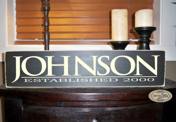 Personalized Family Name & Established Date hand painted wood sign with vinyl lettering - Style FA8