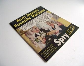 Vintage Cookbook 1940s Aunt Jenny's Favorite Recipes Spry Vegetable Shortening