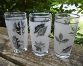 moving sale Set of three cordial sized mid century leaf design cups with silver