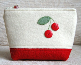 Red Cherries Zip Pouch, Eco Friendly Upcycled Sweater Wool Clutch