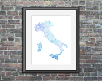 Italy watercolor typography map art print 16x20 country poster wedding engagement graduation gift anniversary wall art decor