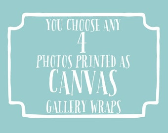 You choose 4 photos printed as canvas gallery wraps, beach canvas art, nursery wall art, kids decor, shabby chic decor, typography wall art