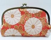 SALE ITEM - Clutch bag, Orange and white chrysanthemum design with peach kimono fabric lining