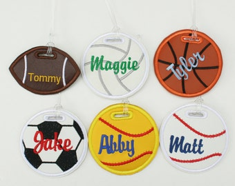 Personalized sports bag tag baseball, softball, soccer, basketball, volleyball, football