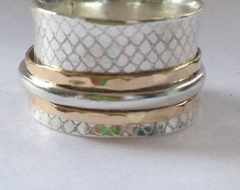 spinning ring silver and gold in lace size made to order