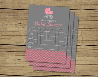 Printable Pink Chevron Ikat Fill in the Blank Shower Invitation
