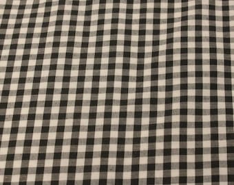Black Gingham Fabric - 1 1/2 Yard - Last Piece