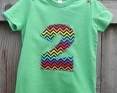 Childs Shirt for Boys or Girls - RAINBOW CHEVRON - Sizes for Toddlers and Big Kids - You Choose Appliqué Shape, Shirt Color - Birthday Gift